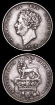 London Coins : A157 : Lot 3575 : Shillings (2) 1825 Lion on Crown ESC 1254 EF Cleaned, 1826 ESC 1257 NVF with a tone line on the reve...