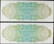 London Coins : A158 : Lot 158 : Belize (2) 1 Dollar dated 1st June 1975, a consecutively numbered pair series A/1 567825 & A/1 5...