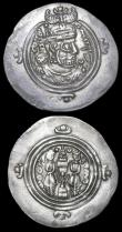 London Coins : A158 : Lot 1647 : Sassanian Drachms (2) Khusru II (590-627AD) both VF