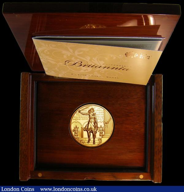 The Royal Mint Britannia Masterpiece 10oz Gold Medal 2011 by Robert Evans 313 grams of fine gold (999.9) as issued in The Royal Mint's wooden presentation box with certificate with an issue limit of just 25 rare and desirable thus and listed by internet retailers at £18,000 : English Cased : Auction 159 : Lot 158