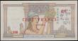 London Coins : A159 : Lot 1814 : New Caledonia 100 Francs overprint on 20 Piastres issued 1939 series Y.84 227, (Pick39), in PCGS hol...