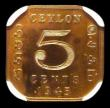 London Coins : A159 : Lot 1963 : Ceylon 5 Cents 1945 VIP Proof/Proof of record KM#113.2 in an NGC holder and graded PF66
