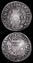 London Coins : A159 : Lot 3378 : Scotland 5 Shillings 1705 No stops on reverse S.5704 Fine with a nick on the bust, 20 Pence Charles ...
