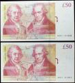 London Coins : A160 : Lot 145 : Fifty Pounds Salmon B410 (2) issued 2011 a pair of consecutively numbered first series notes, AA01 1...