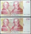 London Coins : A160 : Lot 146 : Fifty Pounds Salmon B410 (2) issued 2011 a pair of consecutively numbered first series notes, AA01 1...