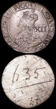 London Coins : A160 : Lot 1851 : Electrotype Shilling Charles I 1643 Oxford Mint as S.2972 a British Museum electrotype pair About EF...