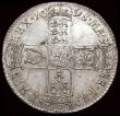 London Coins : A160 : Lot 2226 : Halfcrown 1698 DECIMO ESC 554 GEF the reverse with a long die crack, a small area of scuffing and so...