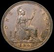 London Coins : A160 : Lot 2401 : Penny 1860 Beaded Border Proof, 9.6 grammes, Thick rim, portrait with large 'bulging' eye,...