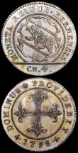 London Coins : A160 : Lot 3469 : Swiss Cantons - Bern (2) 4 Kreuzer 1798 KM#87 UNC with gold and olive tone, Half Batzen 1798 KM#91 U...