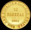 London Coins : A161 : Lot 1147 : Finland 10 Markka 1905L KM#8.2 EF and lustrous, Rare, with Krause listing at $5500 in XF40