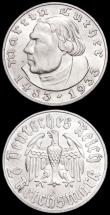 London Coins : A161 : Lot 1196 : Germany - Third Reich 2 Reichsmarks (2) 1933A 450th Anniversary of the Birth of Martin Luther KM#79 ...