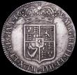 London Coins : A161 : Lot 1711 : Halfcrown 1689 Second Shield, Caul only frosted, with pearls, ESC 510, Bull 839 strong GVF/NEF with ...