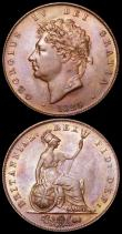 London Coins : A161 : Lot 1763 : Halfpennies (2) 1826 Reverse A Peck 1433 AU/GEF toned with a small spot on the obverse, 1827 Peck 14...