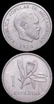 London Coins : A162 : Lot 1243 : Mozambique 1975 (3) Metica and 50 Centimos and Centimo 1975 the scarce KM95, KM96 and KM90 issues Un...