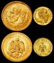 London Coins : A162 : Lot 1703 : World small gold (3) Mexico 2 1/2 Pesos 1945 KM#463 UNC, Mexico Fantasy Gold Peso 1865 Maximillian U...