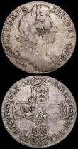 London Coins : A162 : Lot 1858 : Halfcrowns (2) 1672 Third Bust ESC 471 with stop after HIB Fine with some surface marks, 1696 OCTAVO...