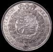 London Coins : A162 : Lot 2303 : Halfcrown 1817 Bull Head F over E in REX type as ESC 616, Bull 2090 A/UNC with a few minor spots abo...