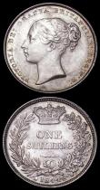 London Coins : A162 : Lot 2499 : Shillings (2) 1844 ESC 1291, Bull 2990 GEF nicely toned, with two small edge nicks, 1846 GEF the rev...
