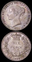 London Coins : A162 : Lot 2532 : Sixpences (2) 1858 ESC 1706, Bull 3200 EF lightly toned with two small spots on the obverse, 1859 9 ...