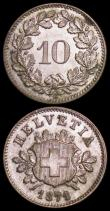 London Coins : A162 : Lot 2969 : Switzerland 10 Rappen 1871B KM#6 EF or slightly better, the reverse with a tone spot around 2 o'...