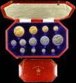 London Coins : A162 : Lot 510 : Proof Set 1902 Long Matt Set 13 coins Five Pounds, Two Pounds, Sovereign, Half Sovereign, Crown, Hal...