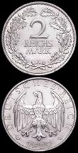 London Coins : A163 : Lot 2463 : Germany - Weimar Republic (2) 3 Reichsmarks 1925G KM#46 EF, 2 Reichsmarks 1926A KM#45 EF