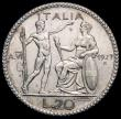 London Coins : A163 : Lot 2494 : Italy 20 Lire 1927R Year VI KM#69 Near EF with  a few minor tone spots on the reverse