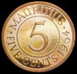 London Coins : A164 : Lot 440 : Mauritius 5 Cents 1964 VIP Proof/Proof of record KM#34 nFDC with some light contact marks, lightly t...