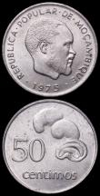 London Coins : A164 : Lot 452 : Mozambique 1975 (2) Metica and 50 Centimos 1975 the scarce KM95 and KM96 issues both Unc