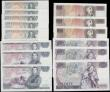 London Coins : A165 : Lot 106 : Bank of England Page 1 Pounds to 20 Pounds QE2 pictorial issues (15) each denomination in consecutiv...