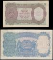 London Coins : A165 : Lot 1226 : India KGVI portrait 1943 undated issues (2) comprising 5 Rupees Pick 18b signed Deshmukh black seria...