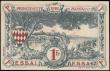 London Coins : A165 : Lot 1240 : Monaco 1 Franc SPECIMEN note ESSAI overprint on serial margin similar to Pick 5 dated 20th March 192...