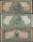 London Coins : A165 : Lot 1275 : USA National Currency Blue seal Large series 1902 Issues (3) in Good - Fine comprising 5 Dollars The...