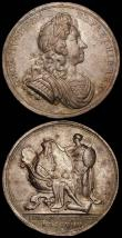London Coins : A165 : Lot 1369 : Medals (2) Peace of Utrecht 1713 Eimer 460 35mm diameter in silver, Obverse draped bust left, ANNA ....
