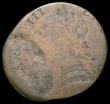 London Coins : A165 : Lot 1446 : Mint Error - Mis-strike Farthing George III a spectacular obverse double struck brockage, the second...