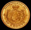 London Coins : A165 : Lot 2285 : Sweden 10 Kronor Gold 1873 ST KM#732 UNC