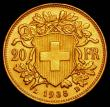 London Coins : A165 : Lot 2293 : Switzerland 20 Francs Gold 1935 LB KM#35.1 Lustrous UNC with small edge nicks