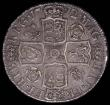 London Coins : A165 : Lot 2722 : Halfcrown 1712 Roses and Plumes, UNDECIMO, the V's in DECVS and TVTAMEN are inverted A's, ...