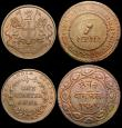 London Coins : A165 : Lot 3476 : India (2) Half Rupee 1945 Lahore, Large 5 KM#552 EF, Quarter Anna 1835 East India Company KM#446.2 T...