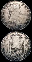 London Coins : A165 : Lot 3673 : Guatemala (2) 8 Reales 1814 NG M KM#69 VG/Fine, 8 Reales 1877 Countermarked Coinage, Countermark 189...