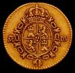 London Coins : A165 : Lot 3773 : Spain Half Escudo Gold 1786 DV KM#425.1 Fine/Good Fine