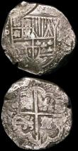 London Coins : A165 : Lot 3775 : Spanish American 8 Reales Cobs (2) dates not visible, types not fully visible, one possibly a Mexico...