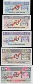London Coins : A165 : Lot 715 : Northern Ireland Northern Bank Limited complete Fourth issue SPECIMEN set Torrens signature (6) comp...