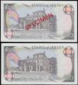 London Coins : A165 : Lot 837 : The States of Jersey 50 Pounds (2) comprising SPECIMEN Pick 19s ND 1989 series AC 000000 signature M...