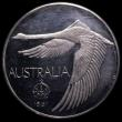 London Coins : A166 : Lot 1091 : Australia Pattern Dollar 1967 Andor Meszaros Obverse: Swan in flight, Reverse: 100 set over a foliag...