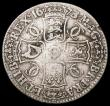 London Coins : A166 : Lot 1512 : Crown 1673 3 over 2 ESC 48, Bull 393 VG/approaching Fine with an edge nick and a tone line on the re...