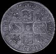 London Coins : A166 : Lot 1743 : Halfcrown 1713 Roses and Plumes ESC 583, Bull 1376 GVF with old dark grey tone and some haymarking,