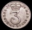 London Coins : A166 : Lot 1946 : Maundy Threepence 1765 ESC 2035, the 5 in the date with traces of an overstrike, extremely rare and ...
