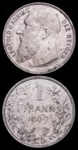 London Coins : A166 : Lot 2663 : Belgium One Franc (2) 1886 KM#28.1 VF or better the reverse with speckled tone, 1909 Dutch legend, w...
