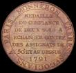 London Coins : A166 : Lot 2736 : France 2 Sols 1791 Token Coinage Monneron Freres Negocians KM#Tn23 UNC and with an attractive and co...